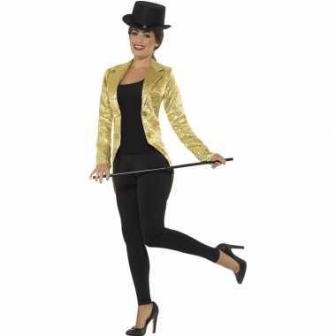 Gouden slipjas met pailletten verkleedkleren/jas voor dames