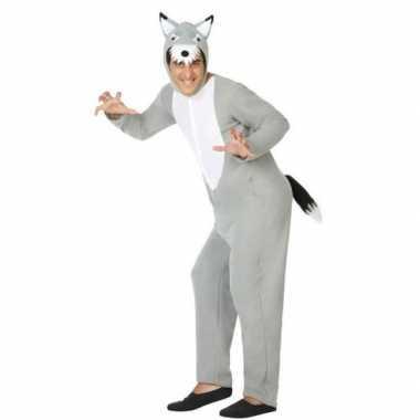 Grijze wolf dieren verkleedkleren/onesie voor volwassenen