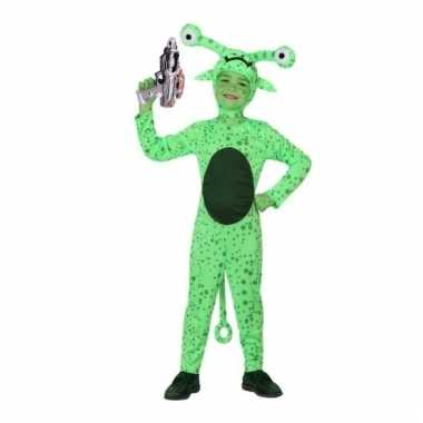 Groen alien verkleedkleren inclusief space gun voor kids