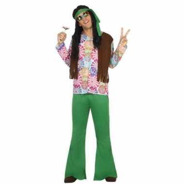 Groen/bruine hippie/flower power verkleedkleren voor heren