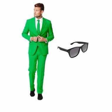 Groen heren verkleedkleren maat 52 (xl) met gratis zonnebril