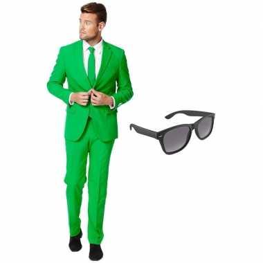 Groen heren verkleedkleren maat 54 (xxl) met gratis zonnebril