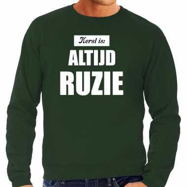 Groene foute kersttrui / sweater kerst is: altijd ruzie verkleedkleren heren