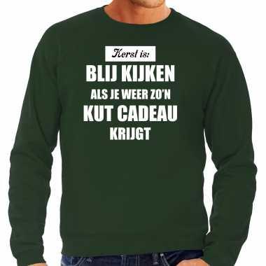 Groene foute kersttrui / sweater kerst is blij kijken / kut cadeau verkleedkleren heren