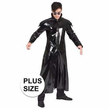 Grote maat 90s verkleedkleren gothic lakleren jas voor volwassenen