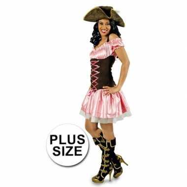 Grote maat verkleedkleren roze piratenjurkje