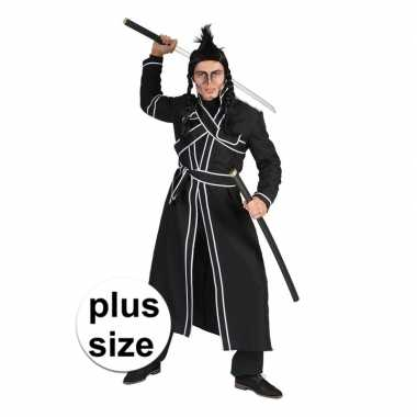 Grote maat zwart samoerai verkleedkleren voor heren
