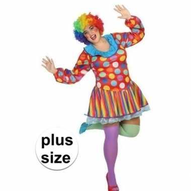 Grote maten clown verkleed jurk/verkleedkleren voor dames