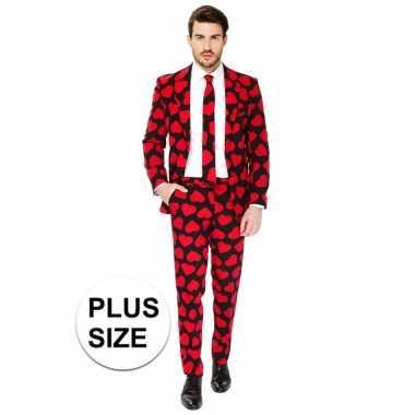 Grote maten heren verkleed pak/verkleedkleren rode hartjes print