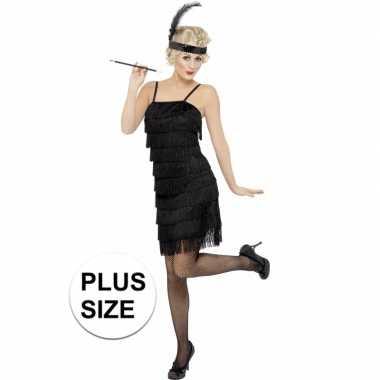 Grote maten zwart flapper jaren 20 verkleedkleren voor dames