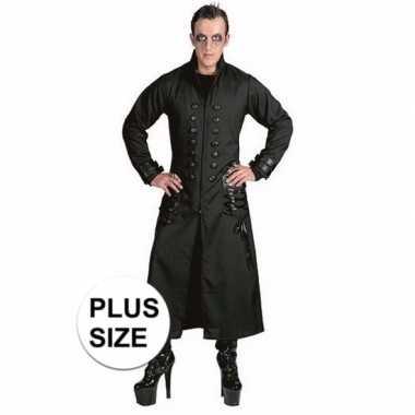 Grote maten zwarte gothic/vampier jas verkleedkleren voor heren