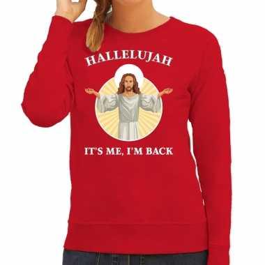 Hallelujah its me im back kerstsweater / verkleedkleren rood voor dames