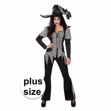 Halloween grote maat zwart/wit heksen verkleedkleren voor dames