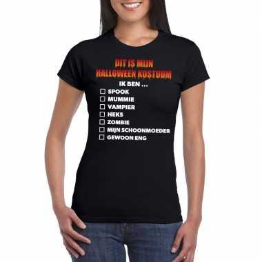 Halloween halloween verkleedkleren lijstje t shirt zwart dames