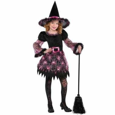 Halloween heksen verkleedkleren spinnenweb voor meisjes