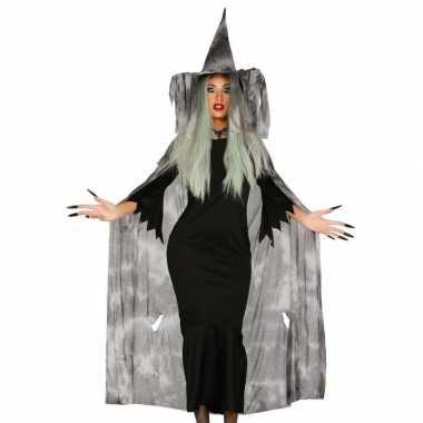 Halloween heksencape halloween verkleedkleren met hoed voor dames