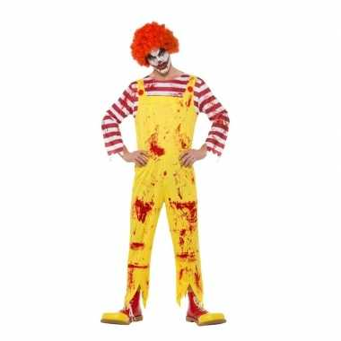 Halloween horror clown verkleedkleren rood/geel voor heren