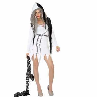 Halloween spook dames verkleedkleren wit met zwart