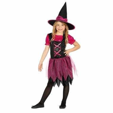 Halloween zwart/roze heksen verkleedkleren voor meisjes