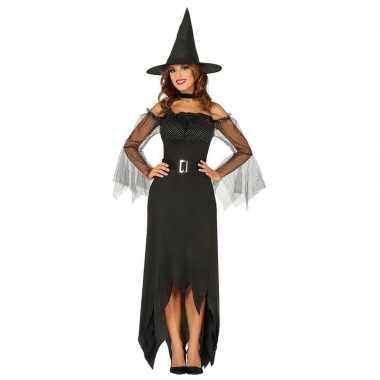 Halloween zwarte lange heksen verkleedkleren voor dames