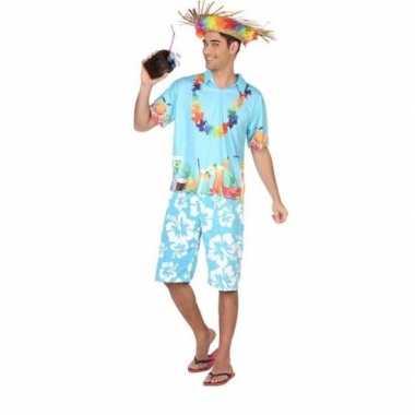 Hawaiiaanse blouse verkleedkleren blauw voor heren