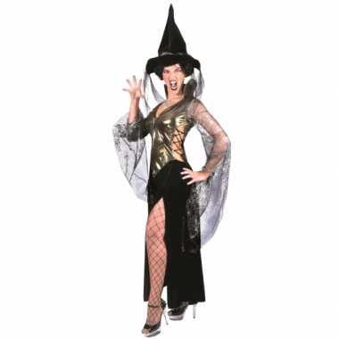Heksen dames verkleedkleren zwart met goud