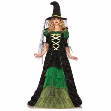 Heksen verkleedkleren groen met zwart