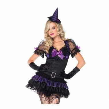 Heksen verkleedkleren zwart/paars voor dames