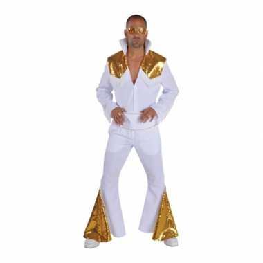 Heren elvis verkleedkleren wit met goud