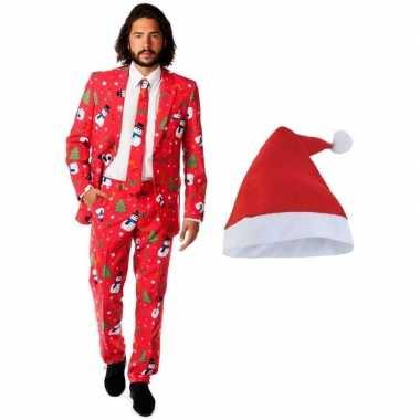 Heren opposuits kerst verkleedkleren rood met kerstmuts maat 52 (xl)