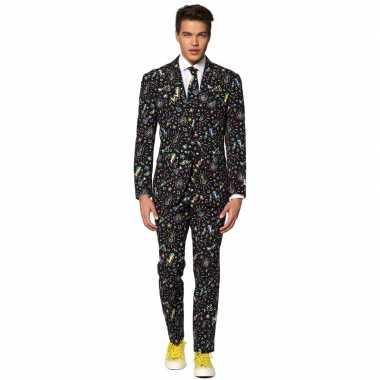 Heren verkleed pak/verkleedkleren disco print