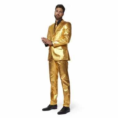 Heren verkleed pak/verkleedkleren metallic goud met stropdas