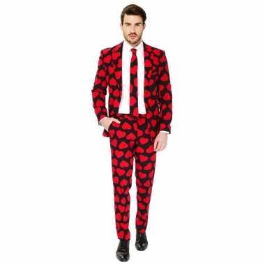 Heren verkleed pak/verkleedkleren rode hartjes print