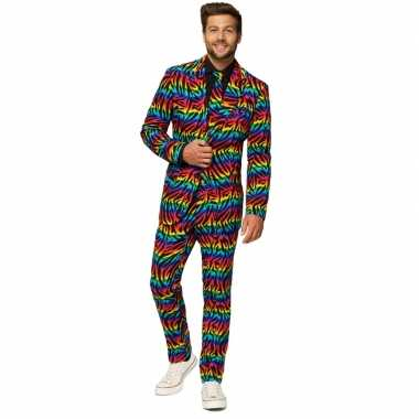 Heren verkleed pak/verkleedkleren zebra regenboog print