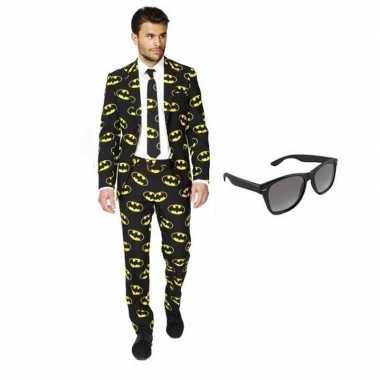 Heren verkleedkleren met batman print maat 52 (xl) met gratis zonnebr