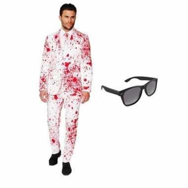 Heren verkleedkleren met bloed print maat 50 (l) met gratis zonnebri