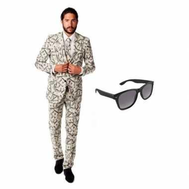 Heren verkleedkleren met dollar print maat 52 (xl) met gratis zonnebr