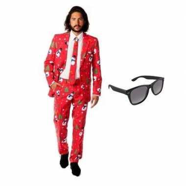 Heren verkleedkleren met kerst print maat 48 (m) met gratis zonnebril