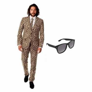 Heren verkleedkleren met luipaard print maat 50 (l) met gratis zonneb