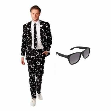 Heren verkleedkleren met sterren print maat 54 (2xl) met gratis zonne