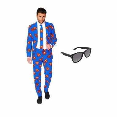 Heren verkleedkleren met superman print maat 52 (xl) met gratis zonne