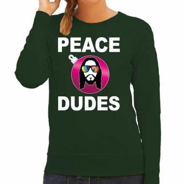Hippie jezus kerstbal sweater / kerst verkleedkleren peace dudes groen voor dames