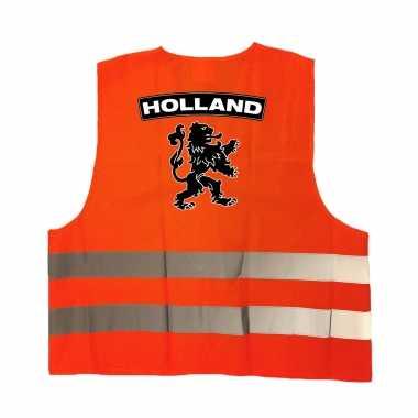 Holland fan hesje met zwarte leeuw ek / wk supporter verkleedkleren voor volwassenen