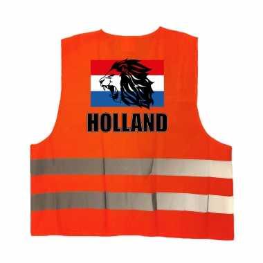 Holland vlag met leeuw oranje veiligheidshesje ek / wk supporter verkleedkleren voor volwassenen