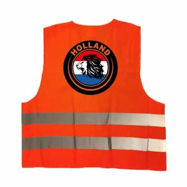 Hollandse leeuw veiligheidshesje oranje ek / wk supporter verkleedkleren voor volwassenen