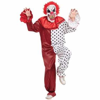 Horror clown verkleedkleren met masker rood/wit