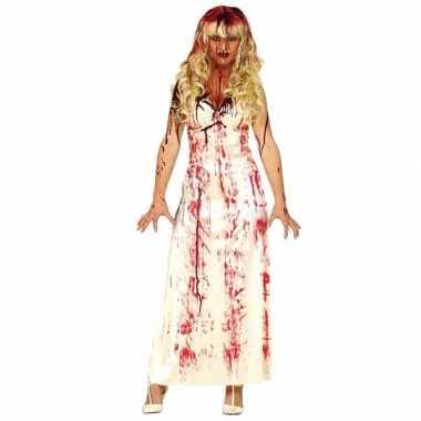 Horror verkleedkleren lange bloederige witte jurk