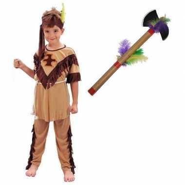 Indianen verkleedkleren maat m met tomahawk voor kinderen