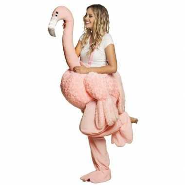 Instap verkleedkleren flamingo voor volwassenen