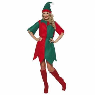Kerst elf verkleedkleren rood/groen voor dames